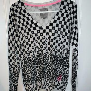 Volcom cheetah/checkered sweater